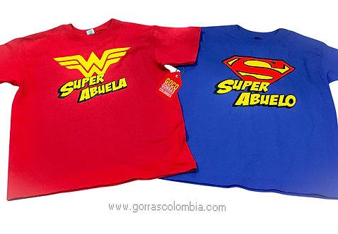 camisetas azul y roja para pareja super abuelos