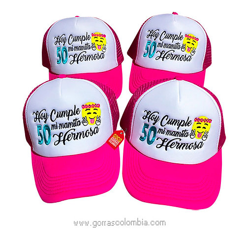 gorras fucsias frente blanco para fiesta cumpleaños emoji
