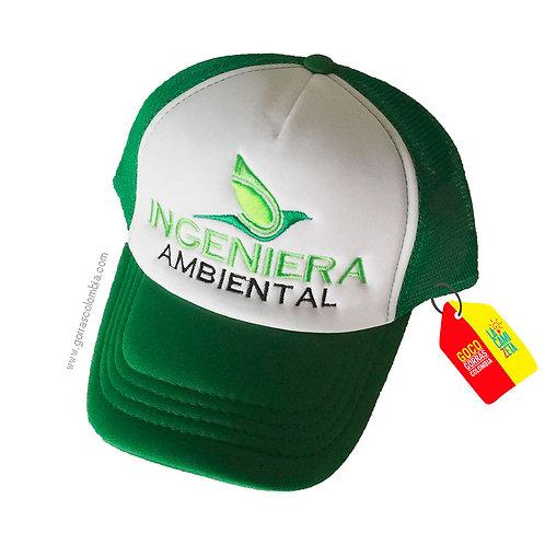 gorra verde frente blanco personalizada ingeniera ambiental