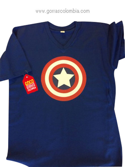 camiseta azul para niño de capitan america