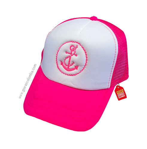 gorra fucsia frente blanco personalizada ancla