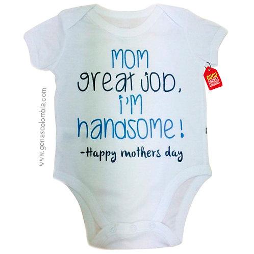 body blanco para bebe de happy mothers day