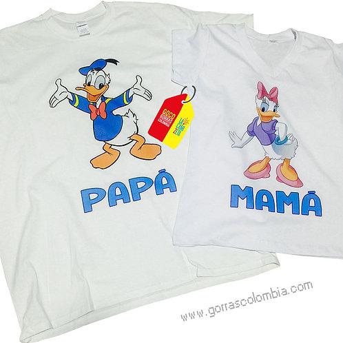 camisetas blancas para familia de pato donald y deisy