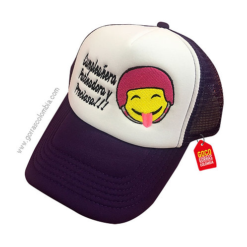 gorra negra frente blanco personalizada patinadora emoji