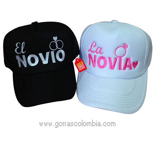 gorras negra y blanca unicolor para pareja novio y novia