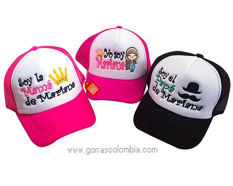gorras negra y fucsia frente blanco para familia mostacho