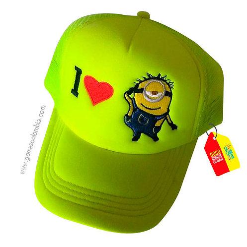 gorra verde neon unicolor para niña i love minion