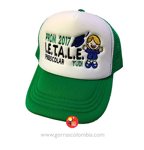 gorra verde frente blanco para nino graduación prom