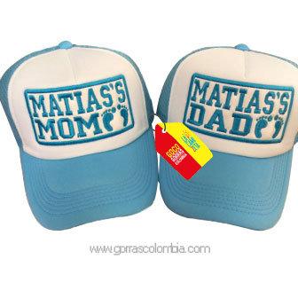 gorras azules frente blanco para familia mom y dad