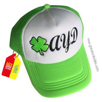 gorra verde frente blanco personalizada trebol