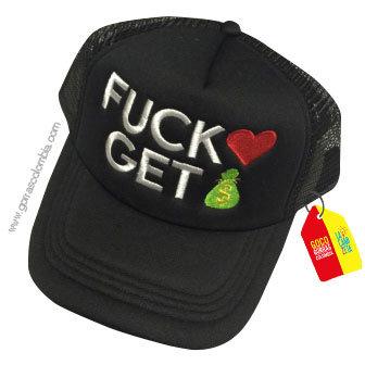 gorra negra unicolor personalizada fuck get
