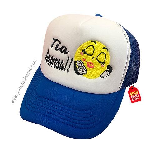 gorra azul frente blanco personalizada emoji beso