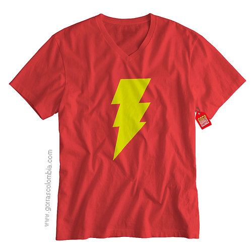 camiseta roja de superheroes shazam