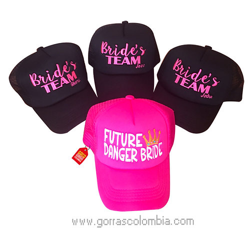 gorras negra y fucsia unicolor para fiesta future danger bride
