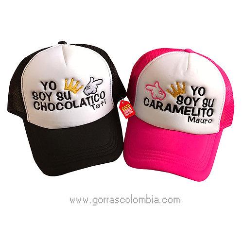 gorras negra y fucsia frente blanco para pareja chocolatico y caramelito