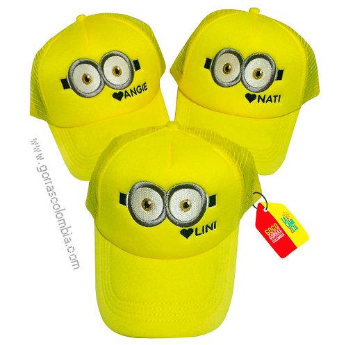 gorras amarillas unicolor para amigas minions