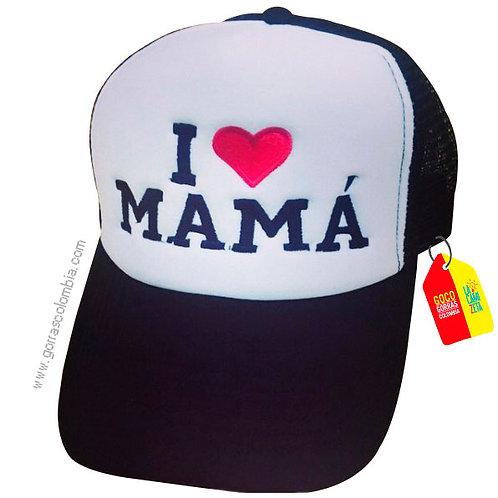 gorra negra frente blanco personalizada i love mamá