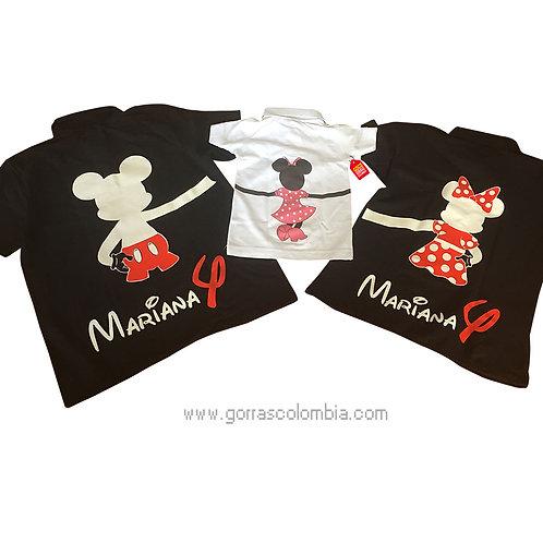 camisetas negras y blanca tipo polo para familia de mickey cumpleaños