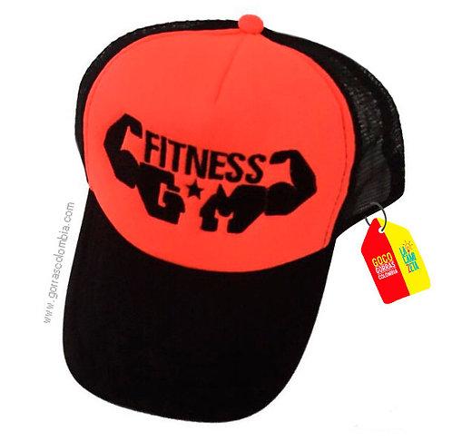 gorra negra frente naranja personalizada fitness