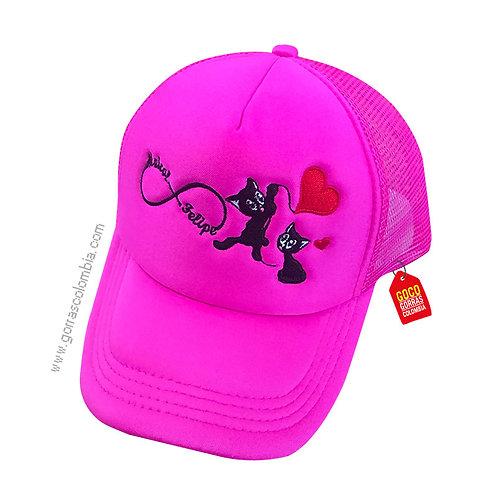 gorra fucsia unicolor personalizada gatos