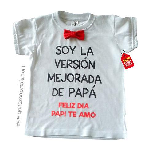 camiseta blanca para niño versión mejorada de papá