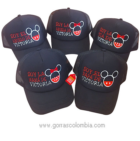 gorras negras unicolor para familia de mickey silueta
