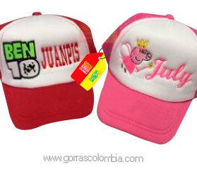 gorras roja y fucsia frente blanco para niños ben10 y peppa