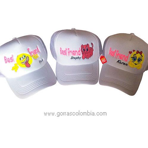 gorras blancas unicolor para amigas best friend