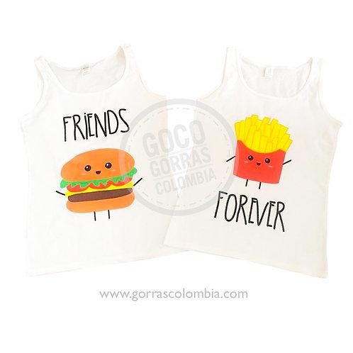 camisetas blancas para amigas friends forever