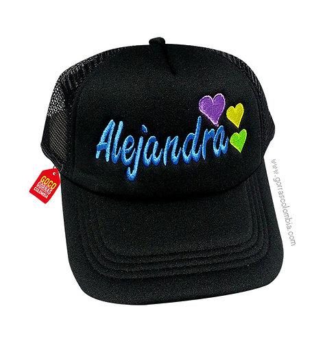gorra negra unicolor personalizada corazones nombre
