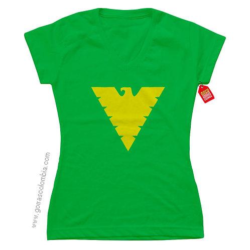 camiseta verde de superheroes phoenix