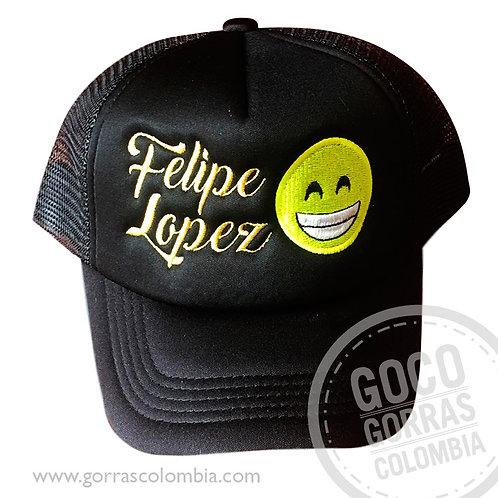 gorra negra unicolor personalizada emoji feliz