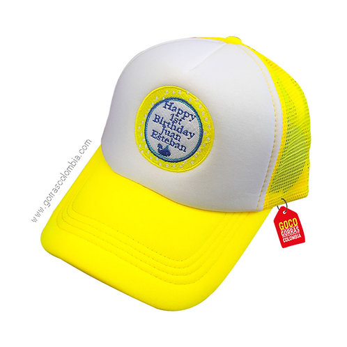 gorra amarilla frente blanco personalizada happy birthday