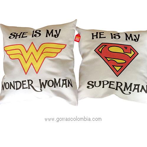 cojines blancos personalizados super heroes