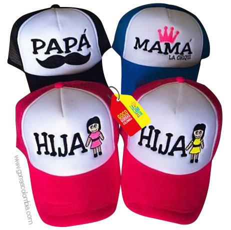 gorras negra, azul y fucsia frente blanco para familia papas e hijas