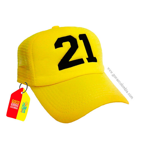 gorra amarilla unicolor personalizada numero