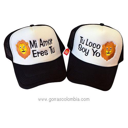 gorras negras frente blanco para pareja mi amor eres tu leon