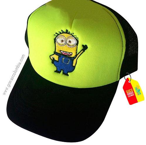 gorra negra frente verde personalizada minion