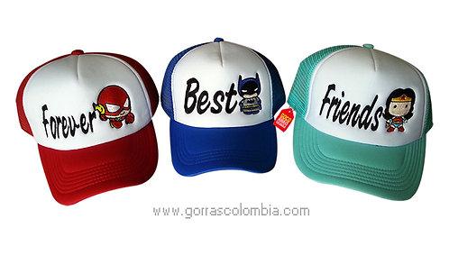 gorras varias frente blanco para amigas best friends forever