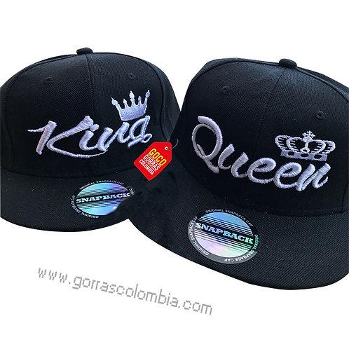gorras negras unicolor planas para pareja king y queen