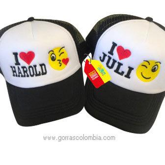 gorras negras frente blanco para pareja i love emojic