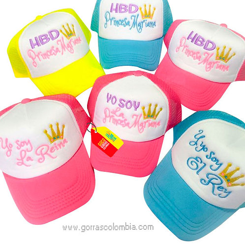 gorras varias frente blanco para fiesta hbd familia