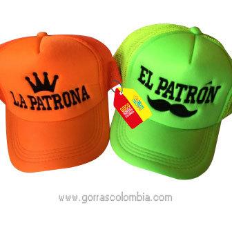 gorras naranja y verde unicolor para pareja patron y patrona