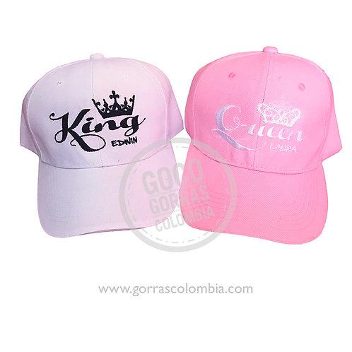 gorras rosada y fucsia unicolor para pareja king y queen