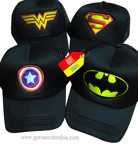 gorras negras unicolor para familia super heroes