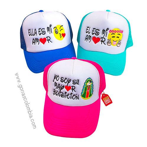 gorras de varios colores frente blanco para familia mayor bendicion