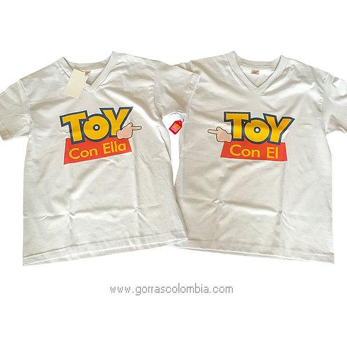 camisetas blancas para pareja de toy con el y toy con ella