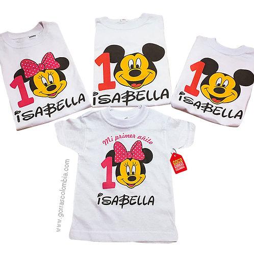 camisetas blancas para familia de mickey