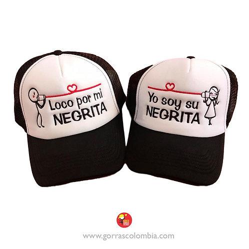 gorras negras frente blanco para pareja loco por mi negrita