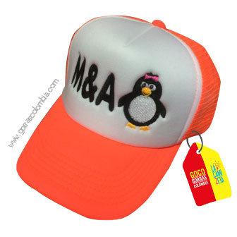 gorra naranja frente blanco personalizada pinguino